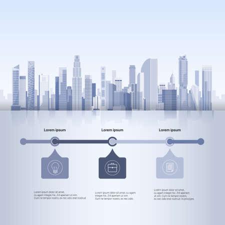 Stadt-Wolkenkratzer-Ansicht-Stadtbild-Hintergrund-Skyline-Schattenbild mit Kopien-Raum Infographics-Vektor-Illustration