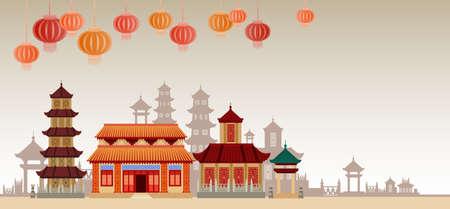 Chinese Traditionele Abstracte de Banner Vlakke Vectorillustratie van het Gebouwen Kleurrijke Ornament Stock Illustratie