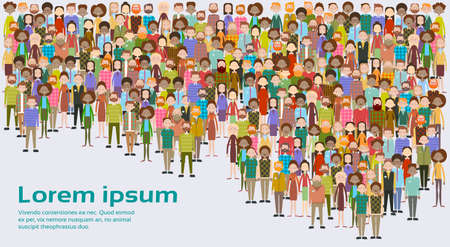 ビジネス人の大群衆ビジネスマン ミックス民族の多様な平面ベクトル図のグループ