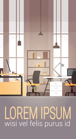 Creative Office Co-working Center University Campus Modern Workplace Flat Vector Illustration Vectores