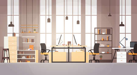 Creative Office Co-working Center University Campus Modern Workplace Flat Vector Illustration Çizim