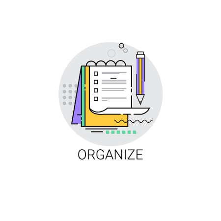 organize: Data Organize Check List Business Icon Vector Illustration Illustration