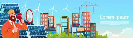 Business Man Wind Tribune Solar Energy Panel Renewable Station Presentation Flat Vector Illustration