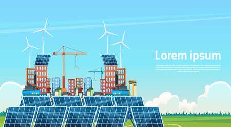 Illustrazione piana di vettore della stazione rinnovabile del pannello a energia solare del generatore eolico