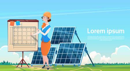 Business Woman Solar Energy Panel Renewable Station Presentation Flat Illustration Stock Photo