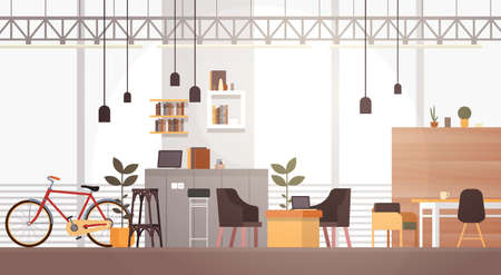 university campus: Creative Office Co-working Center University Campus Modern Workplace Flat Illustration Stock Photo