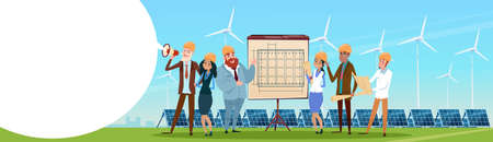 Business People Group Wind Turbine Solar Energy Panel Renewable Station Presentation Flat Illustration