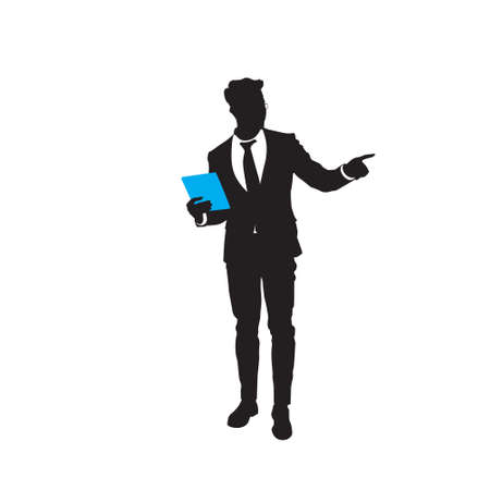 Silhouette Business Man Point Finger To Copy Space Isolated Over White Background Flat Illustration