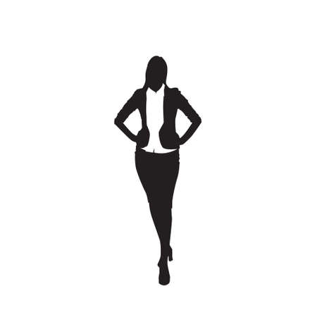 Business Woman Black Silhouette Standing Full Length Over White Background Illustration