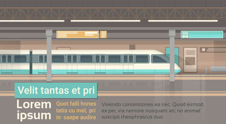 지하철 전차 현대 도시 대중 교통, 지하철 도로 역 평면 그림 일러스트