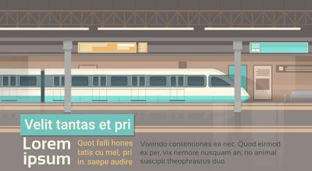 Metro tranvía moderno de la ciudad Transporte público, camino de la estación de metro de carril Ilustración plana