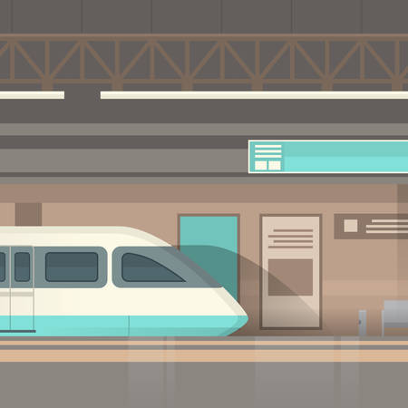 Subway Tram Modern City Public Transport, Underground Rail Road Station Flat Illustration