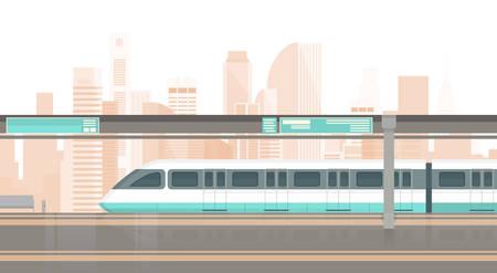 Subway Tram Modern City Public Transport, Underground Rail Road Station Flat Illustration