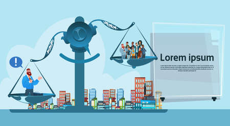 Business People Group On Balance Scale Career Concept Flat Illustration