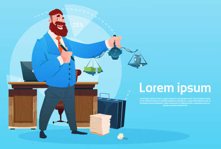 Rich Business Man Hold Scale With Money Office Interior Businessman Workplace Flat  Illustration