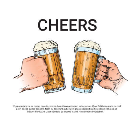 Hand Hold Beer Glass Mug Cheers Oktoberfest Festival Sketch Illustration