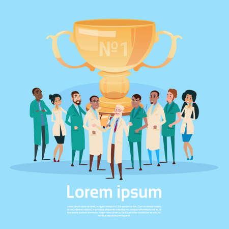 Group Medial Doctors Clinic Team Hold Prize Winner Cup, Team Success Concept Flat Illustration