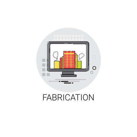 fabrication: Fabrication Factory Industry Production Icon Illustration