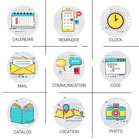 Catálogo Reloj Calendario Recordatorio Navegación Ubicación Aplicación Codificación Icon Set Ilustración Logos