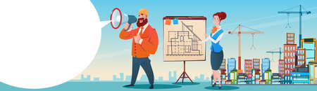 drafting: Builder Architect Workers Boss Hold Megaphone Present Architecture Drafting City Building Background Flat Illustration