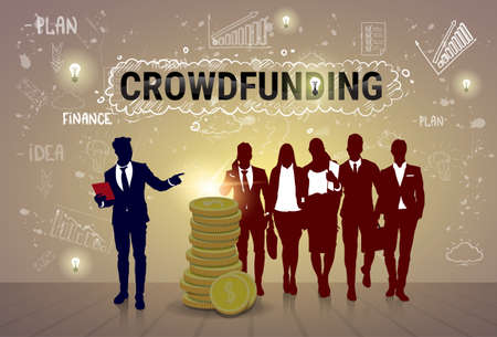 investor: Business People Group Investment Money Investor Crowd Funding Web