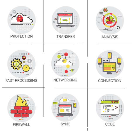 protected database: Sync Synchronize Internet Cloud Network Technology Data Protection Icon Set Vector Illustration