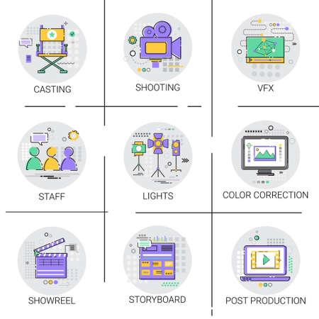 Prise de vue caméra industrie du film production icône set vector illustration