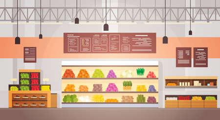 Big Shop Super Market Shopping Mall Interior Flat Vector Illustration Stock Vector - 70483240