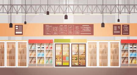 Big Shop Super Market Shopping Mall Interior Flat Vector Illustration