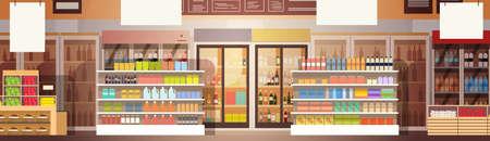 Big Shop Super Market Shopping Mall Intérieur Flat Vector Illustration Banque d'images - 70872342