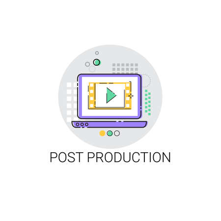showreel: Camera Film Post Production Industry Icon Vector Illustration Stock Photo