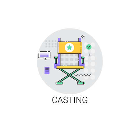 showreel: Casting Camera Film Production Industry Icon Vector Illustration