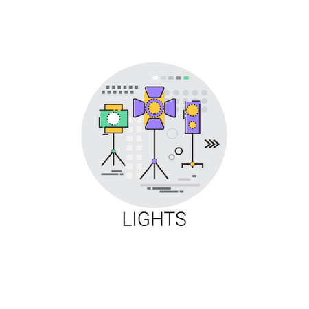 showreel: Lights Film Production Industry Icon Vector Illustration