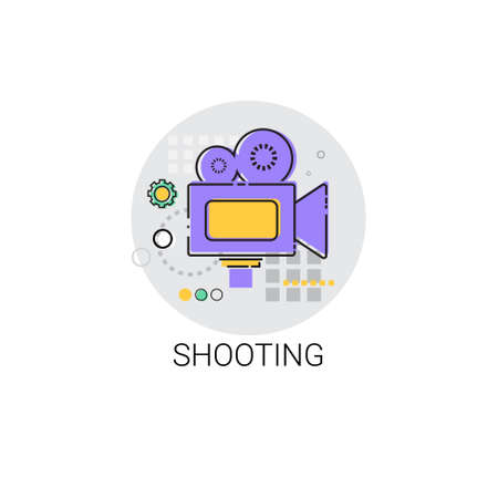 videographer: Shooting Camera Film Production Industry Icon Vector Illustration
