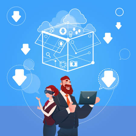 briefing: Business Man And Woman Wear Digital Reality Glasses Brainstorming Briefing Idea Concept Flat Vector Illustration
