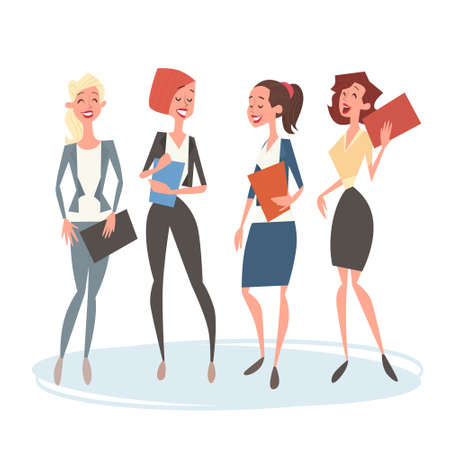 Business Woman Group Team Human Resources Colleagues Flat Vector Illustration