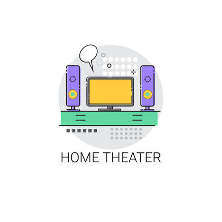 dvd room: Home Teater Audio System TV Devices Icon Vector Illustration Illustration