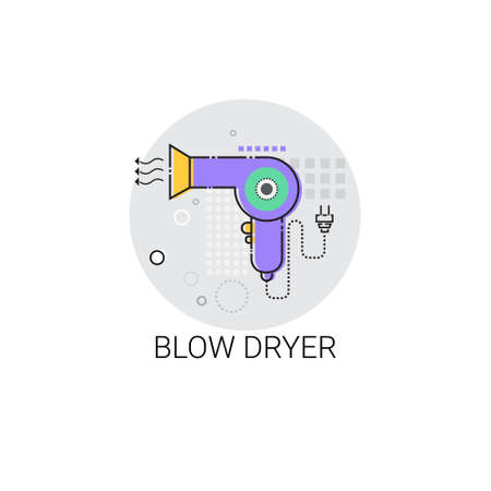 blow dryer: Blow Dryer Beauty Devices Icon Vector Illustration