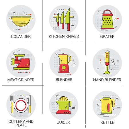 Cooking Utensils Kitchen Equipment Appliances Set Icon Vector Illustration Illustration
