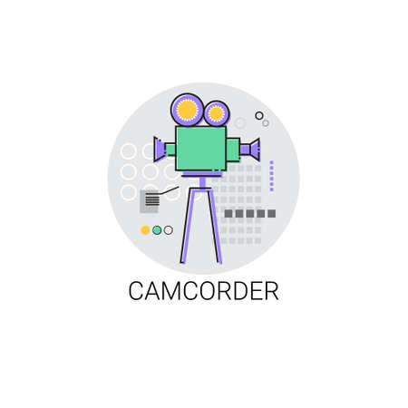 handy cam: Camcorder Shooting Camera Film Production Industry Icon Vector Illustration Illustration