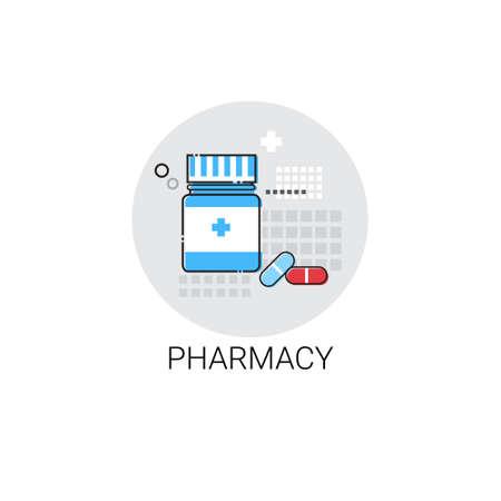 medical treatment: Pharmacy Hospital Doctors Clinic Medical Treatment Icon Vector Illustration