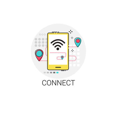 Connect Wifi Social Network Communication Connection Icon Vector Illustration Illustration