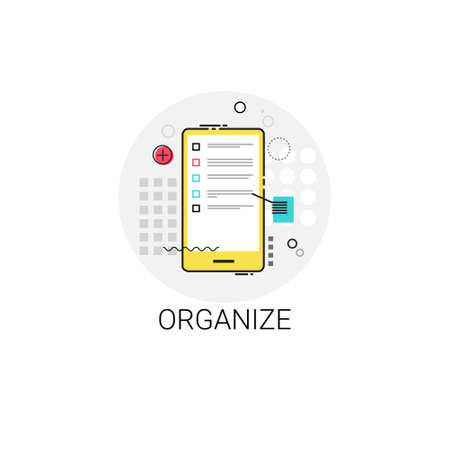 organize: Organize Application Organizer Cell Smart Phone Icon Vector Illustration
