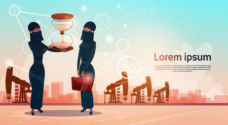 sand watch: Arab Woman With Sand Watch Money Pumpjack Oil Rig Crane Platform Wealth Concept Flat Vector Illustration Illustration