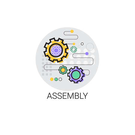 Assembly Machinery Industrial Automation Industry Production Icon Vector Illustration Vector Illustration