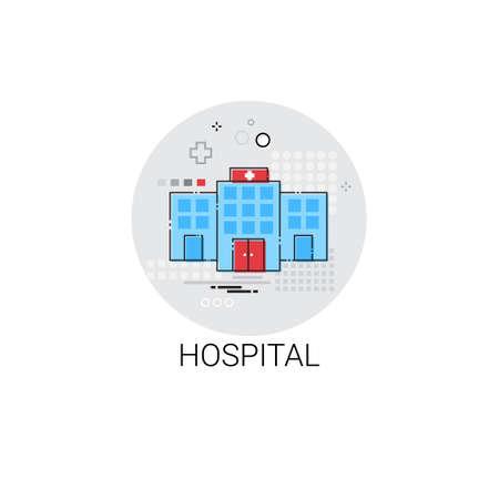 medical treatment: Hospital Building Doctors Clinic Medical Treatment Icon Vector Illustration Illustration