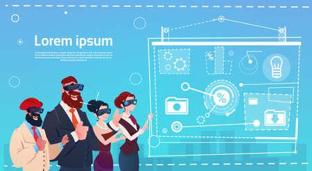 Business People Group Wear Virtual Reality Glasses Digital Interface Screen Presentation Seminar Flat Vector Illustration Illustration