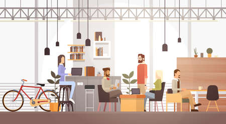 People In Creative Office Co-working Center University Campus Modern Workplace Interior Flat Vector Illustration  イラスト・ベクター素材