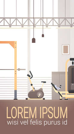 Sport Gym Interior Workout Equipment Copy Space Flat Vector Illustration