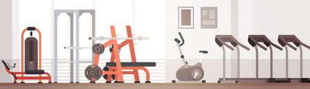 Sport Gymnase Équipement d'entraînement intérieur Espace texte Illustration vectorielle plate
